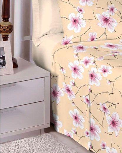 Jogo de cama solteiro 100% algodão Premium Plus estampado Bege com Flores Brancas 7413