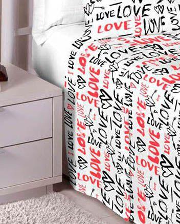 Jogo de cama solteiro 100% algodão Premium Plus estampado Branco com Vermelho 7454