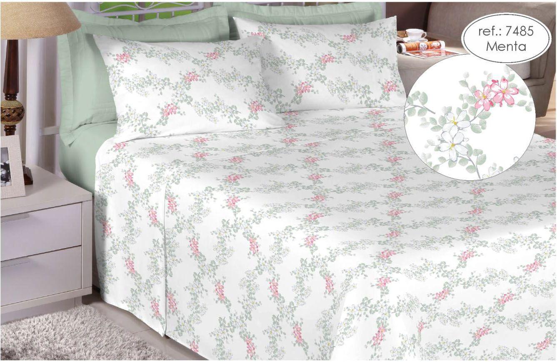 Jogo de cama solteiro 200 fios 100% algodão - estampado menta 7485