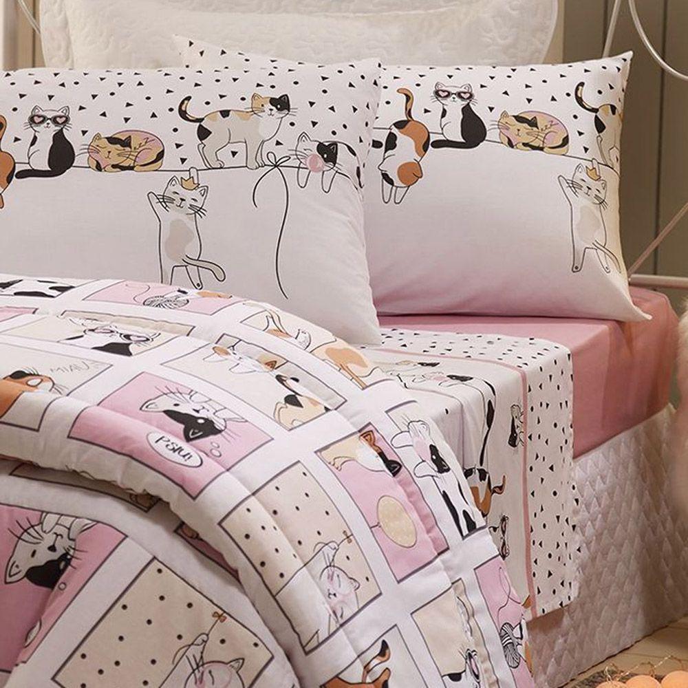 Jogo de Cama Solteiro Infantil 100% algodão Santista - Cats