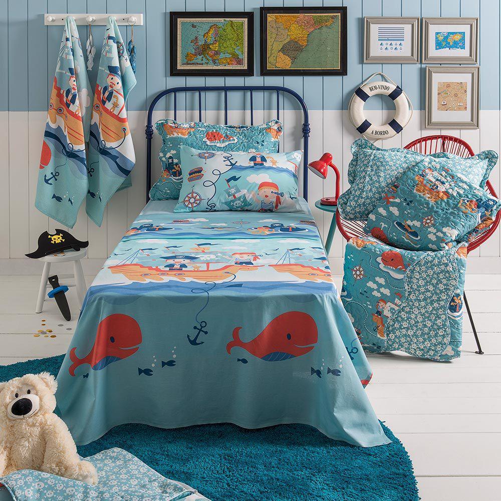 Jogo de cama solteiro infantil Royal Pirata 100% algodão estampado - Santista