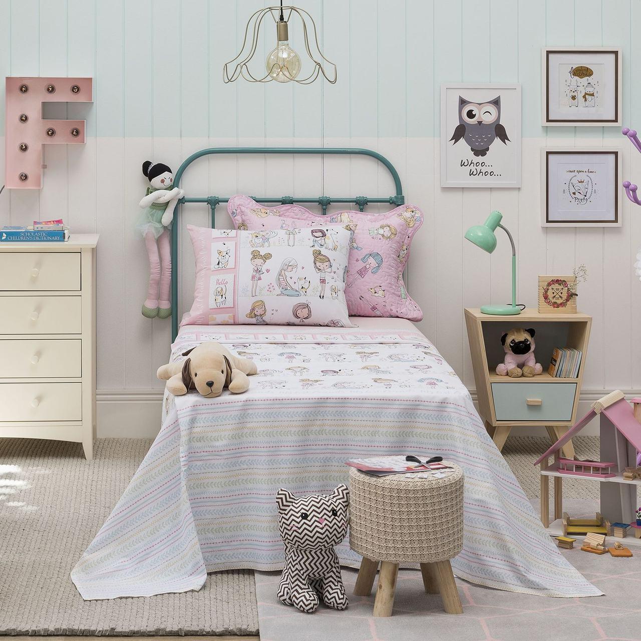 Jogo de cama solteiro infantil Royal Friends 1 100% algodão estampado rosa - Santista