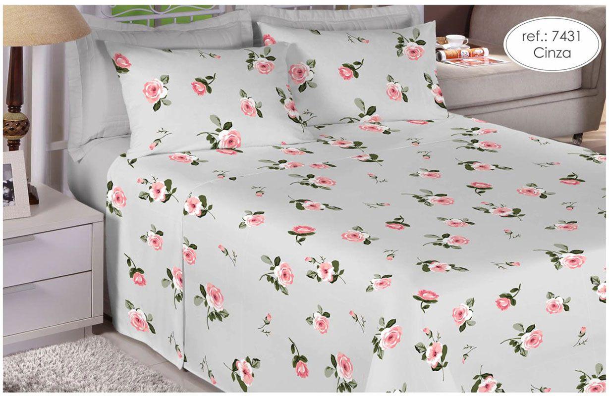 Jogo de cama de solteiro Percal 150 fios - 100% algodão Premium - Cinza 7431