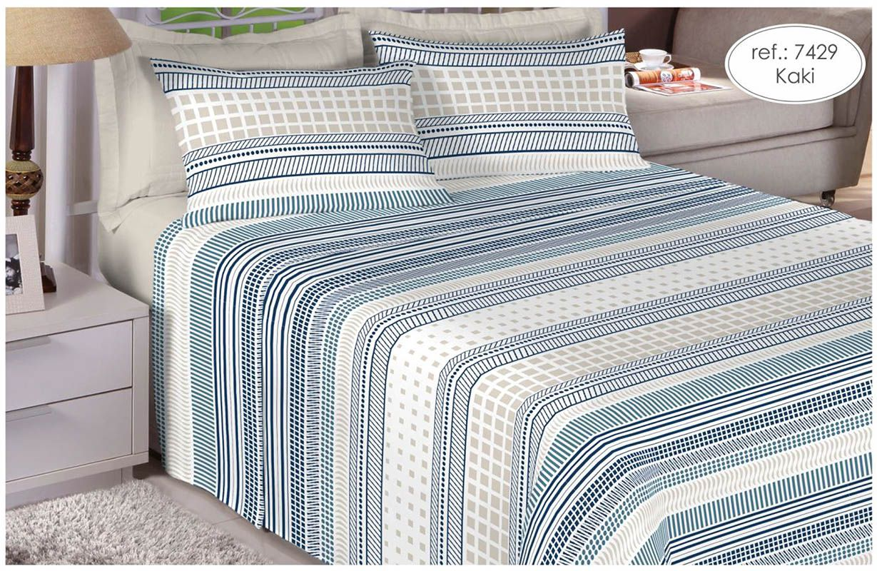 Jogo de cama de solteiro Percal 180 fios - 100% algodão Premium - Kaki 7429