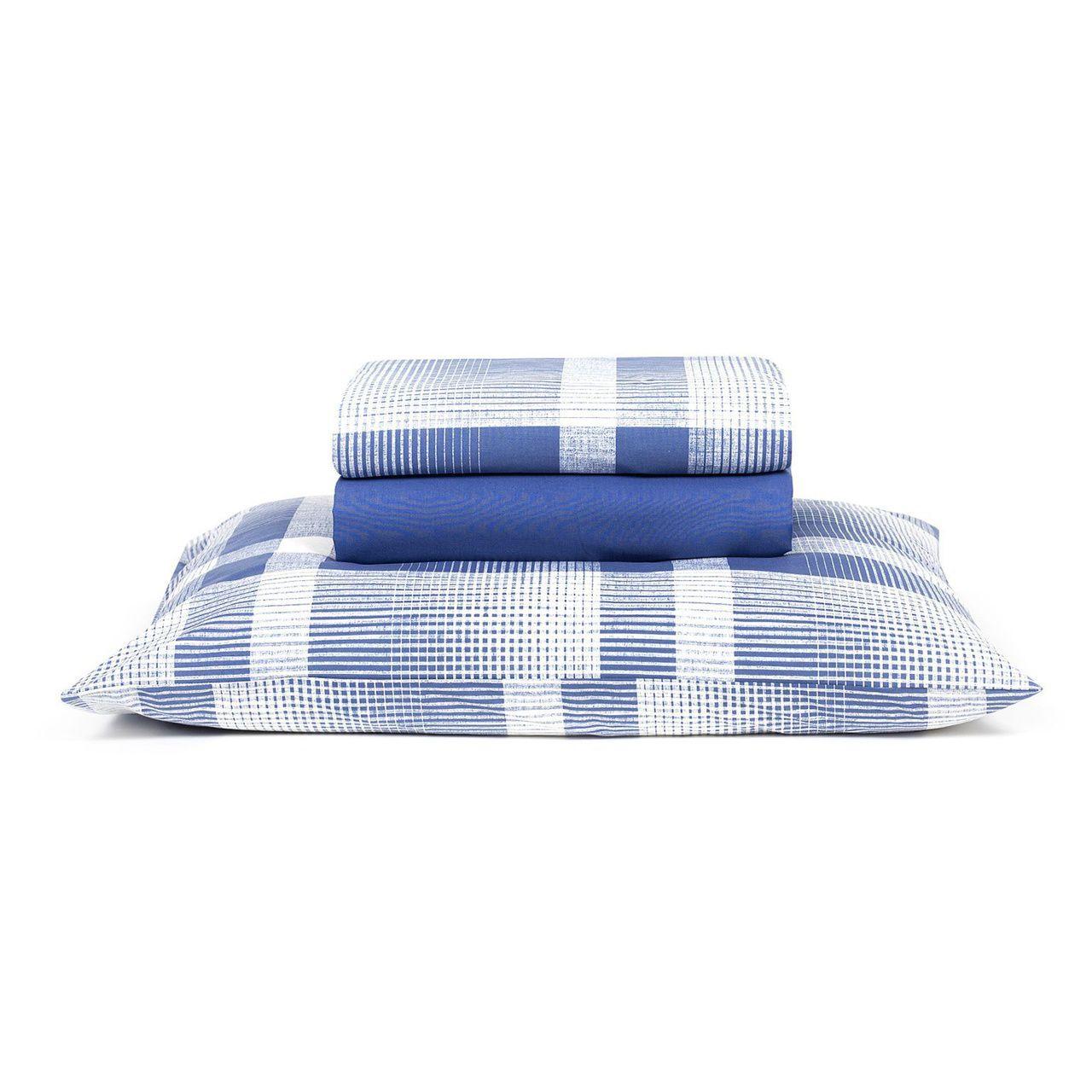 Jogo de cama solteiro Prata 150 Fios 100% algodão Brodway estampado índigo - Santista