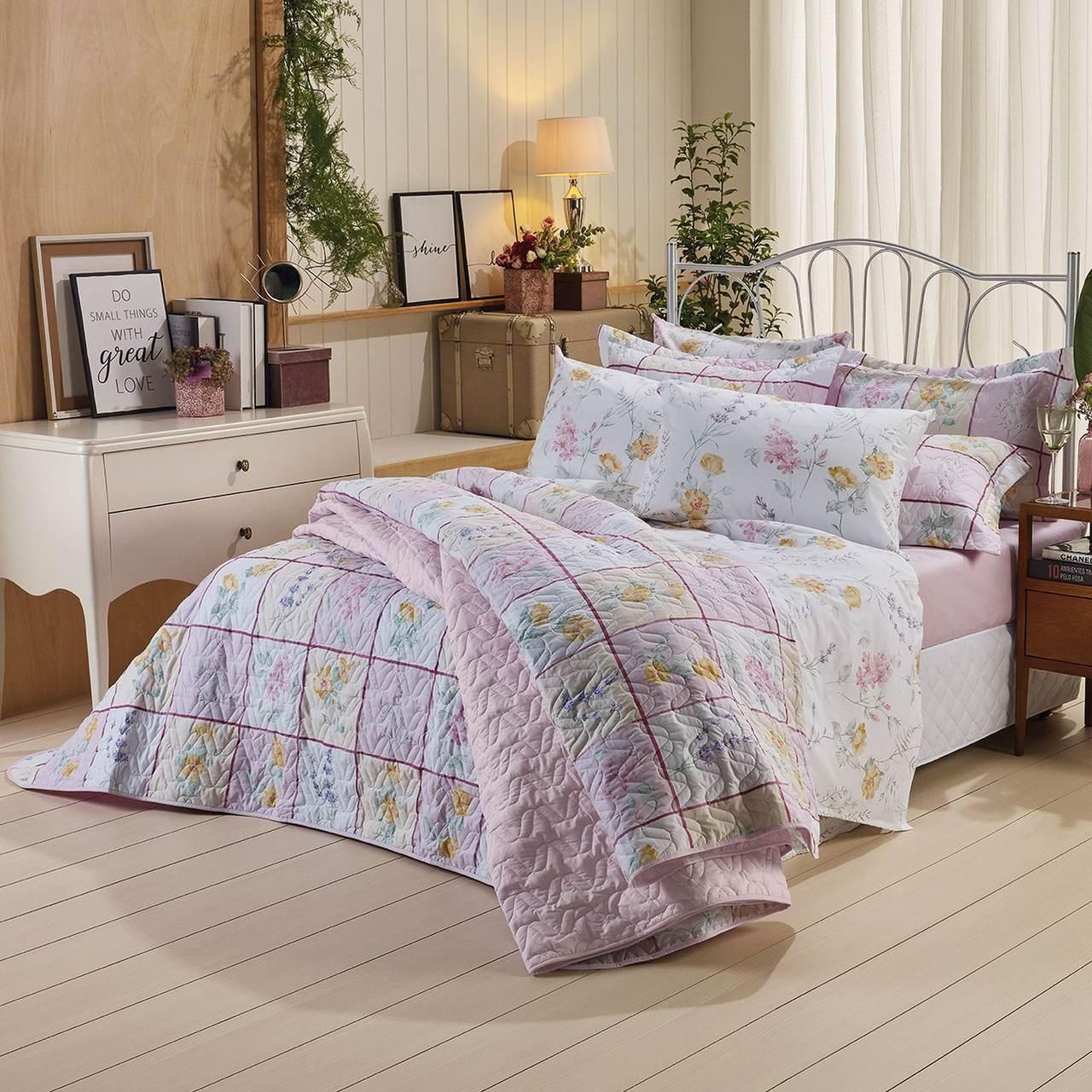 Jogo de cama solteiro Prata 150 Fios 100% algodão Satine estampado rosa - Santista