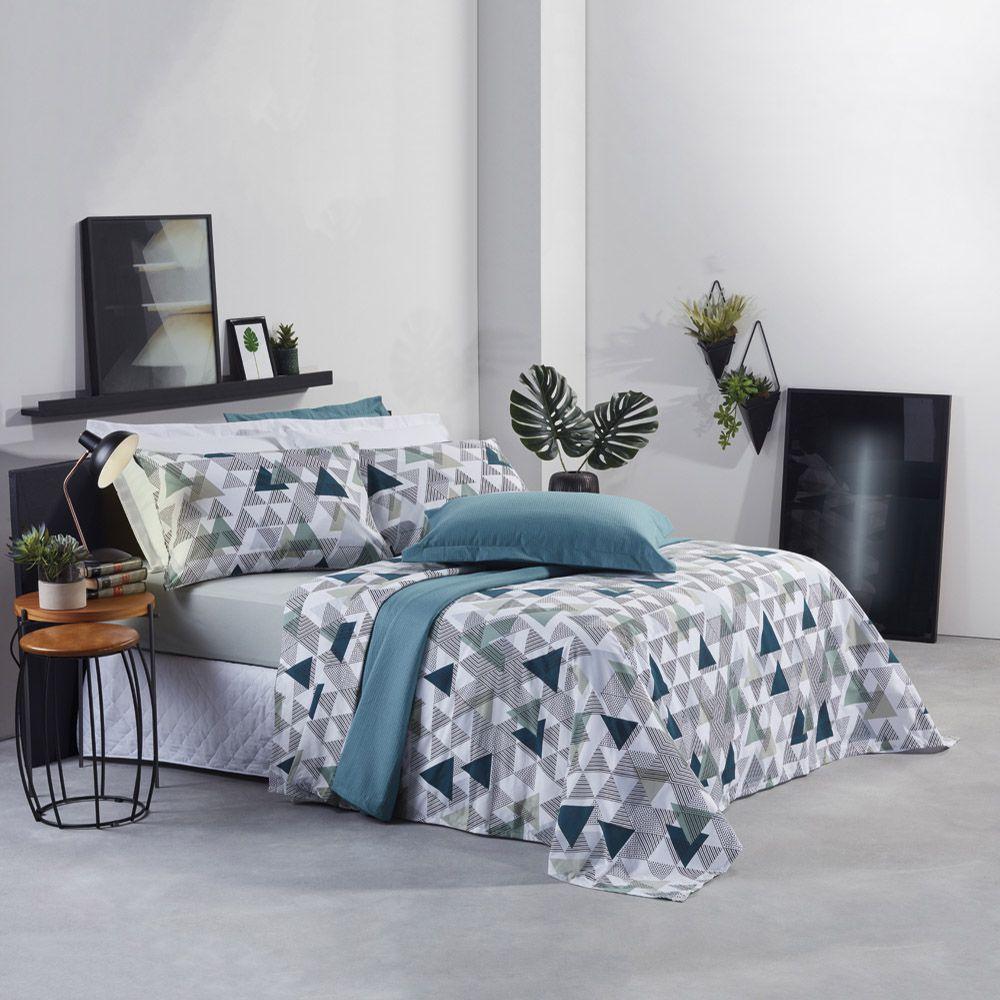 Jogo de cama solteiro Prata 150 Fios 100% algodão Nell estampado Geométrico - Santista