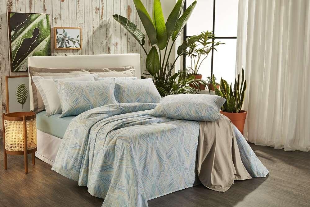 Jogo de cama solteiro Prata 150 Fios 100% algodão Shell estampado Azul - Santista