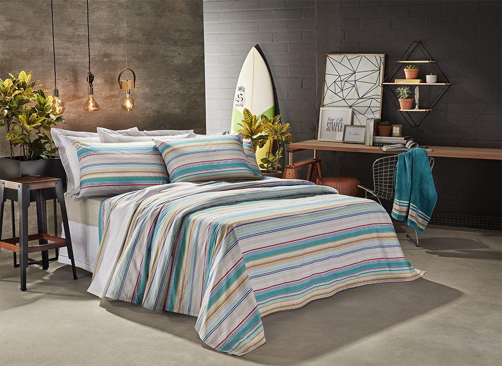 Jogo de cama solteiro Prata 150 Fios 100% algodão Venice estampado - Santista