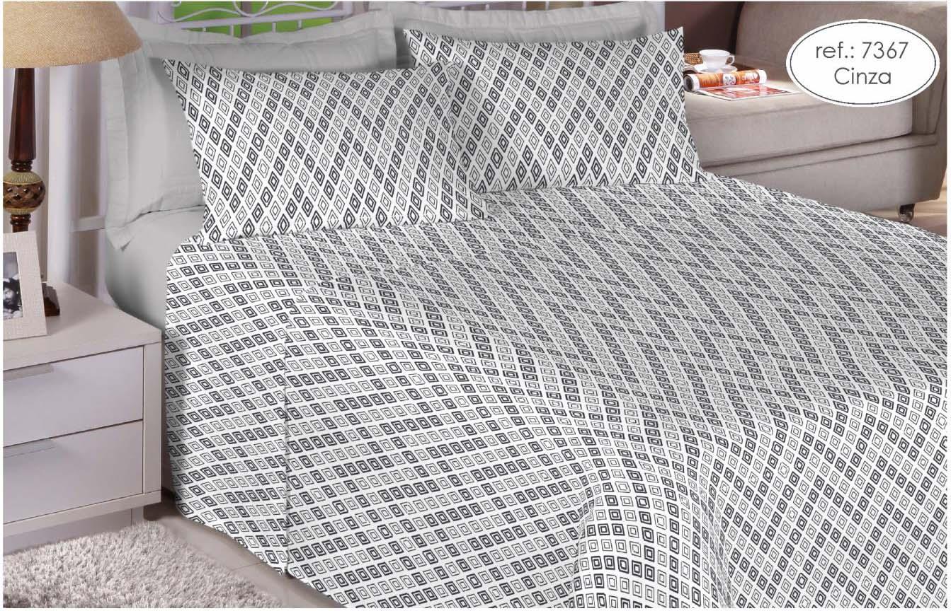 Jogo de cama solteiro Premium 200 fios 100% algodão 7367 Cinza