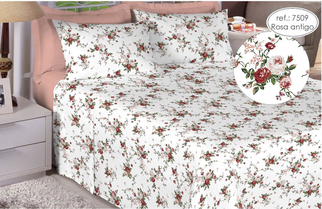 Jogo de cama solteiro Premium 200 fios 100% algodão 7509 Rosa Antigo