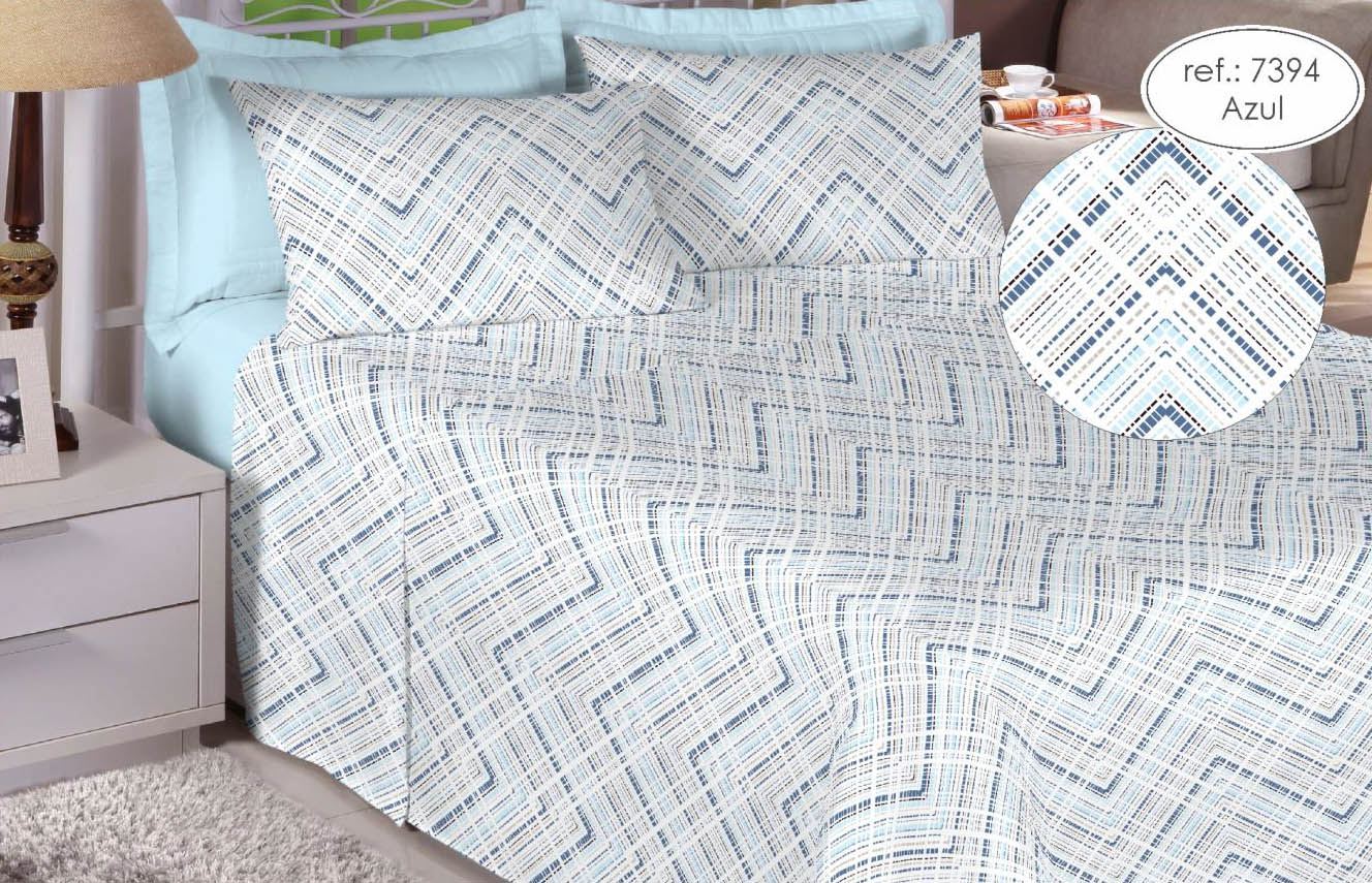 Jogo de cama solteiro Premium Linea 180 fios 100% algodão 7394 Azul