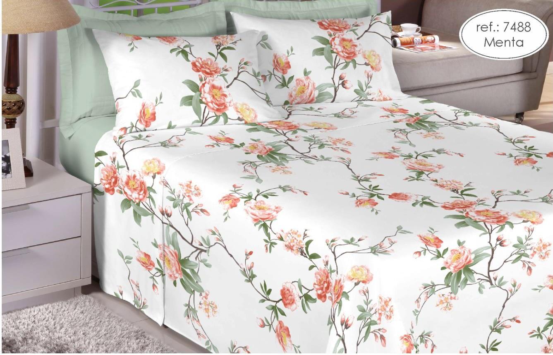 Jogo de cama solteiro Premium Linea 180 fios 100% algodão 7488 Menta