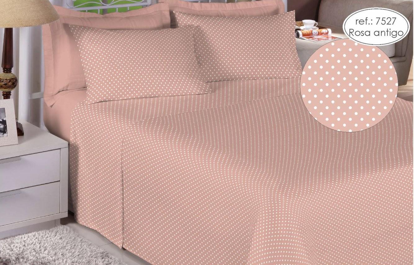 Jogo de cama solteiro Premium Linea 180 fios 100% algodão 7527 Rosa Antigo