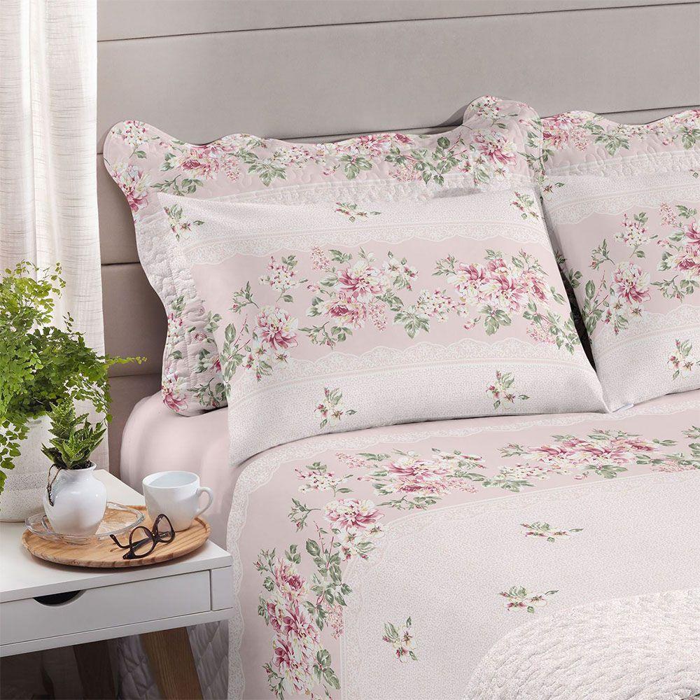 Jogo de cama Solteiro Royal 100% algodão estampado Luara Rosa - Santista