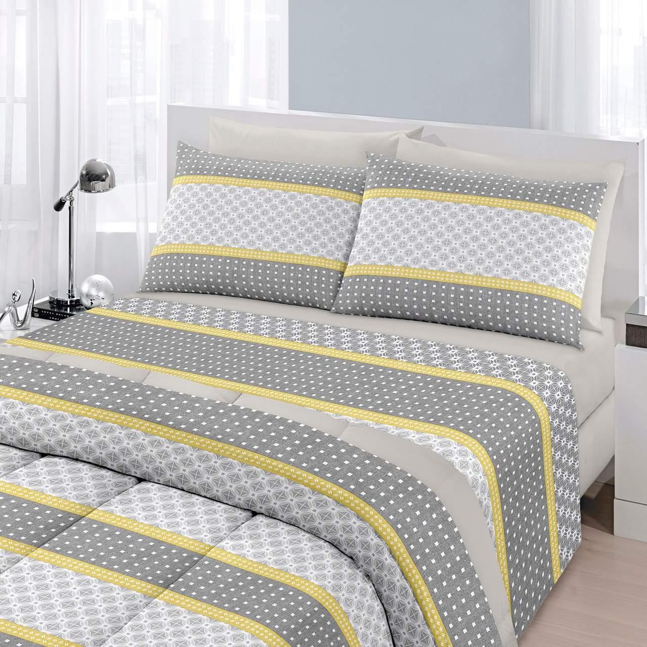 Jogo de cama solteiro Royal Berlin 1 100% algodão estampado - Santista