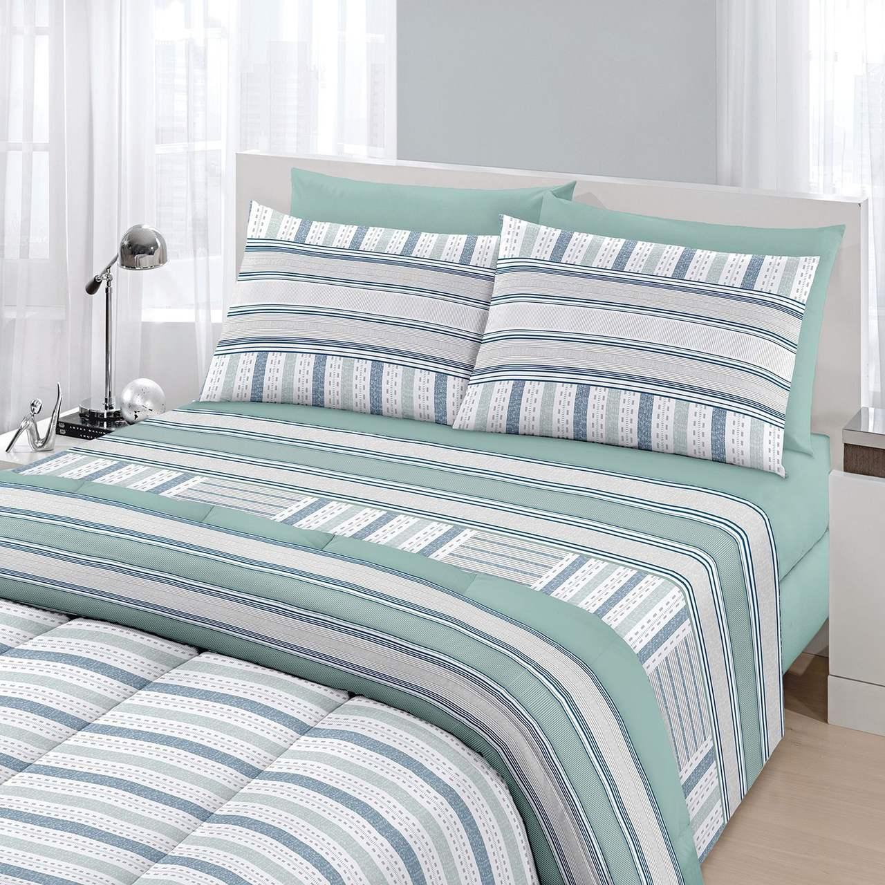Jogo de cama solteiro Royal Boston 1 100% algodão estampado verde  - Santista