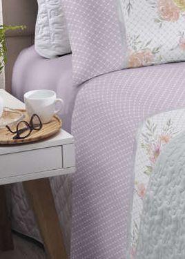 Jogo de cama solteiro Royal Heloisa 1 100% algodão estampado Poá e Floral - Santista