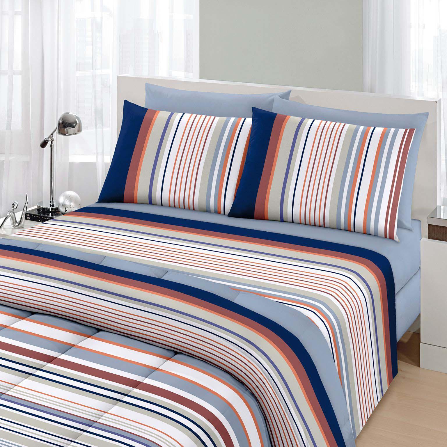 Jogo de cama solteiro Royal Lionel 1 100% algodão estampado Listrado - Santista