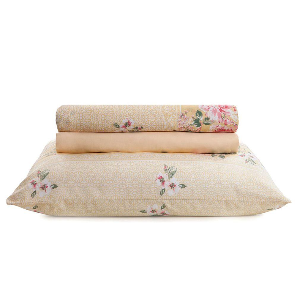 Jogo de cama solteiro Royal Luara Amarelo 100% algodão estampado - Santista