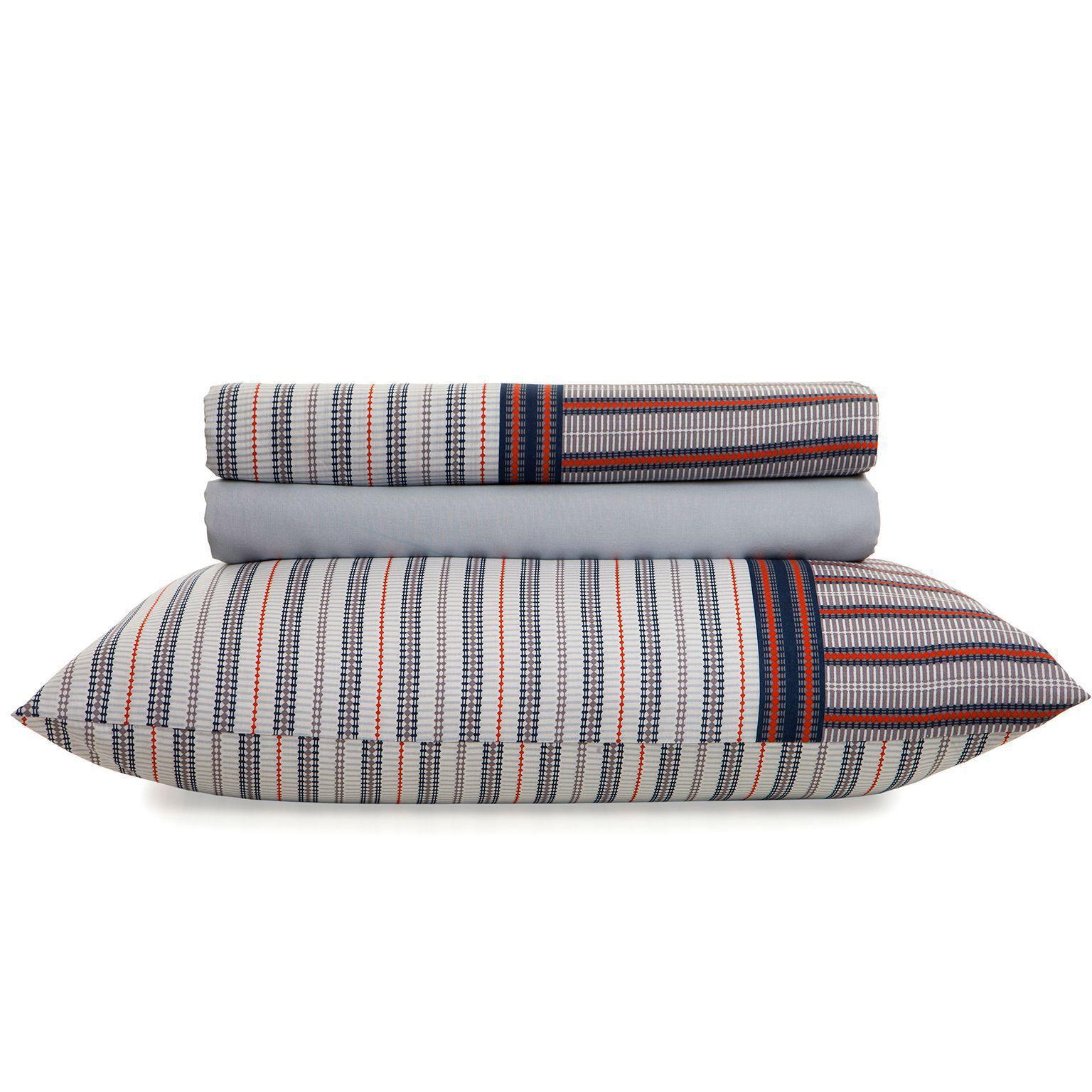 Jogo de cama solteiro Royal Luis 1 100% algodão estampado Listras - Santista