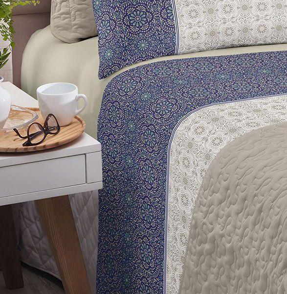 Jogo de cama solteiro Royal Milão 100% algodão estampado Floral Indiano - Santista