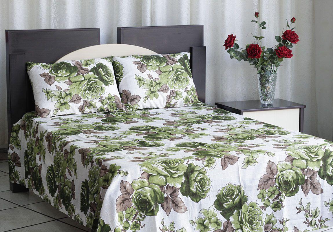 Kit colcha de casal texturatto estampada Flores verdes com detalhes marrom - OMA Enxovais