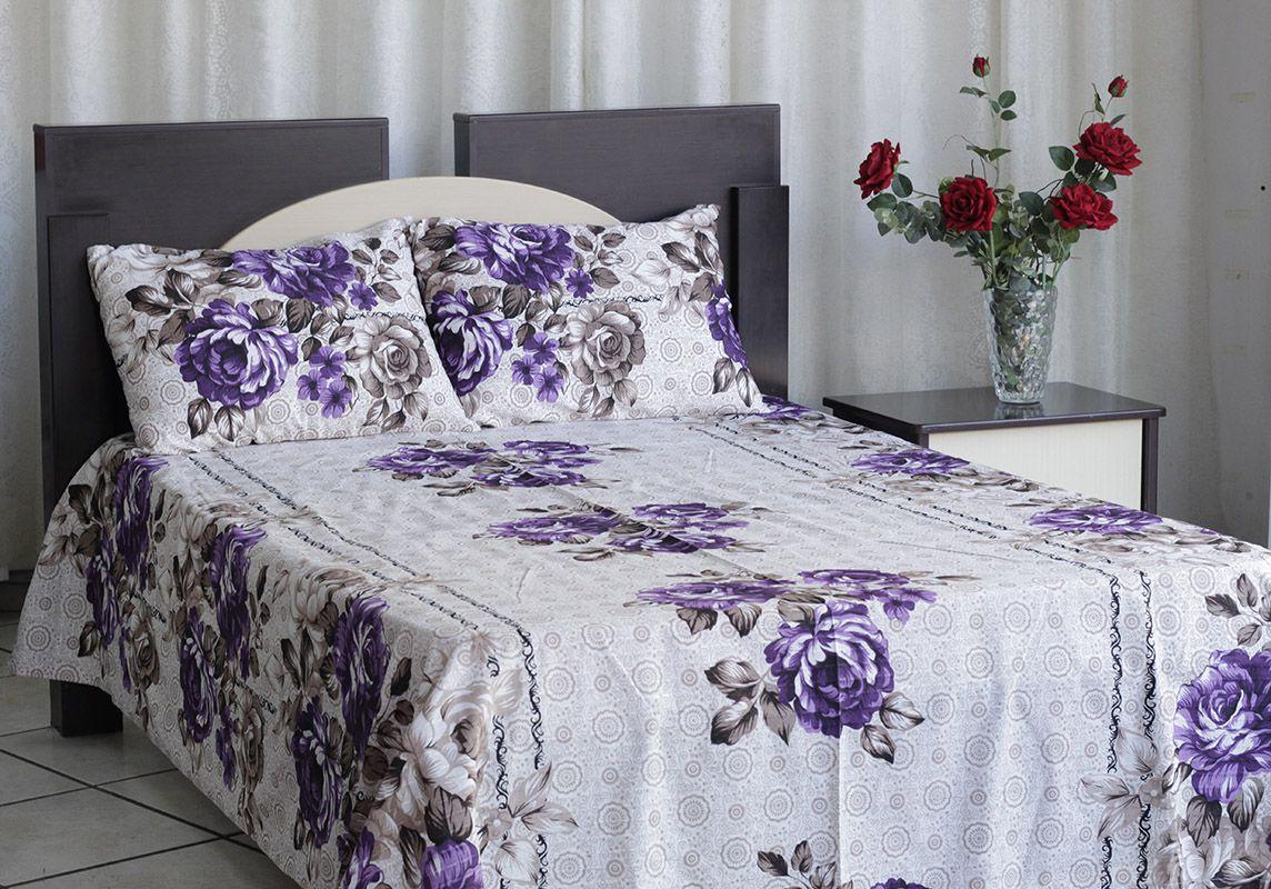 Kit colcha de casal texturatto estampada flores roxas com detalhes marrom - OMA Enxovais