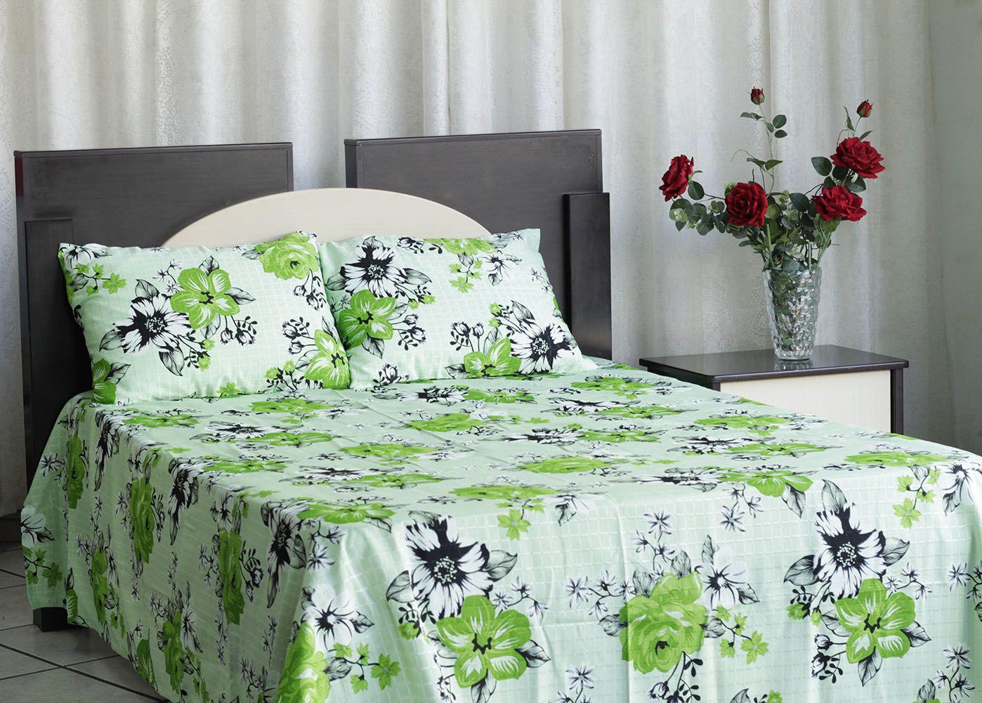 Kit colcha de casal texturatto estampada Florida Verde - OMA Enxovais