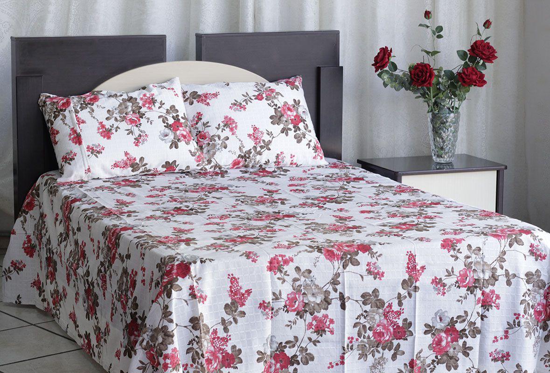 Kit colcha de casal texturatto estampada Florida rosa - OMA Enxovais