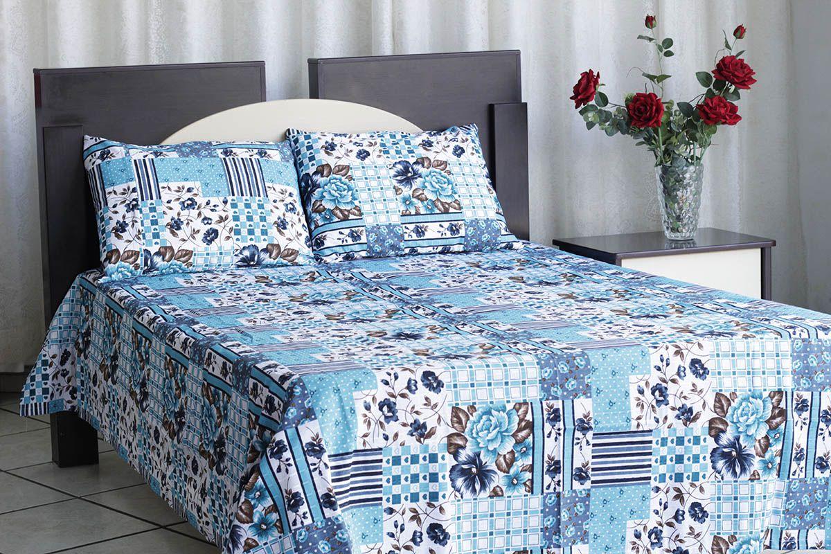 Kit colcha de casal texturatto estampada Floral azul água- OMA Enxovais