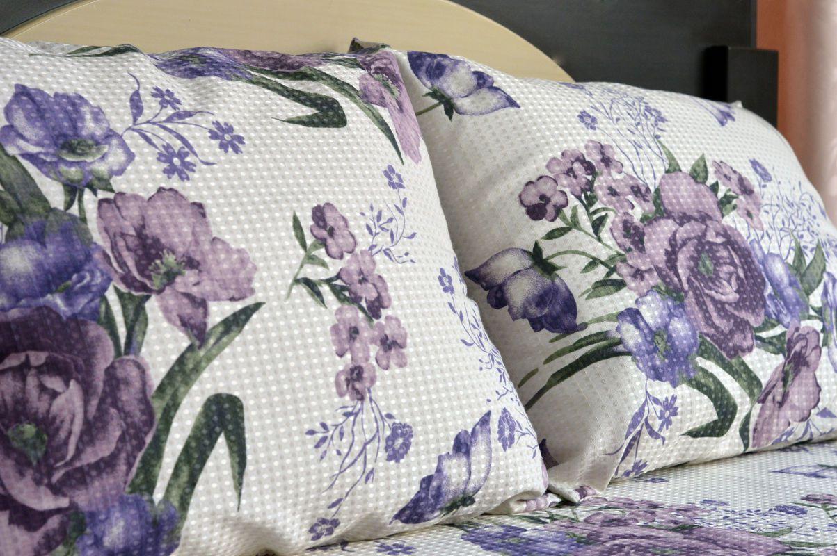 Kit colcha de casal piquet estampada Flores Lilás - OMA Enxovais