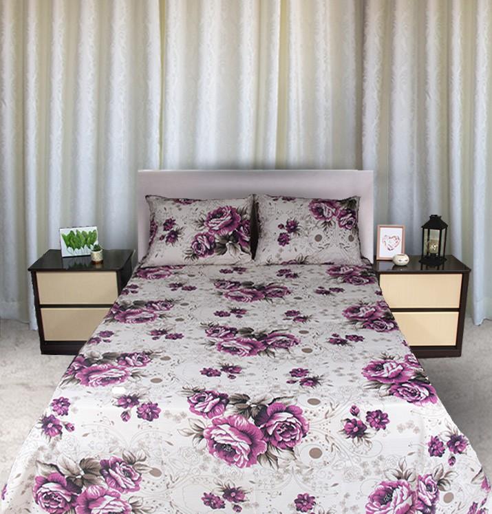Kit colcha de casal piquet estampada Flores Rosa- OMA Enxovais