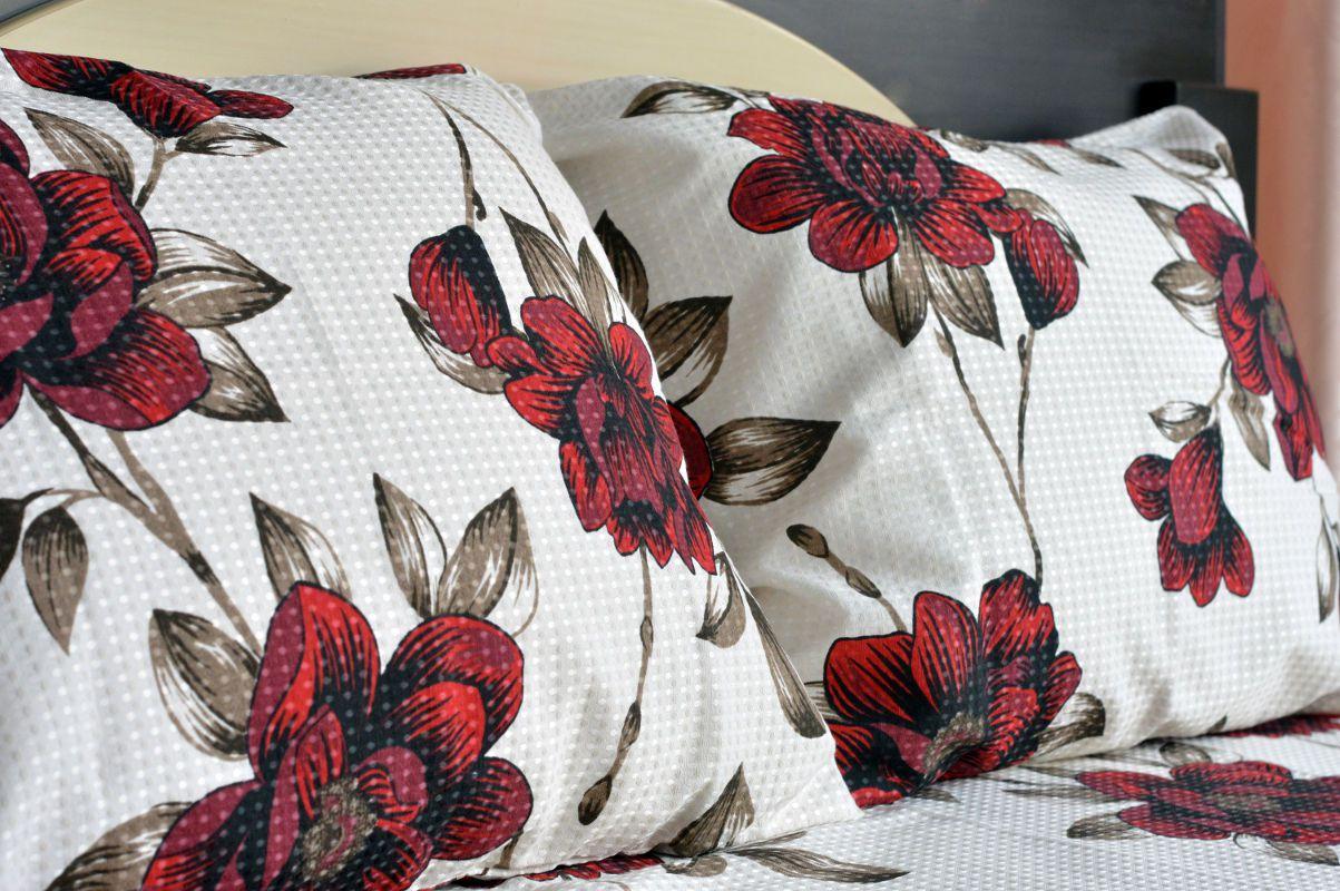 Kit colcha de casal piquet estampada Flores Vermelhas - OMA Enxovais