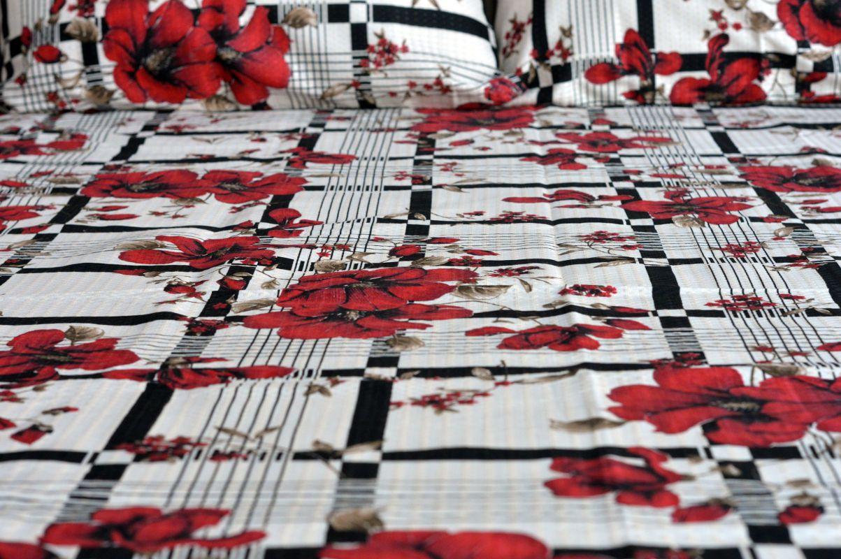 Kit colcha de casal piquet estampada Florida Vermelha com Listras - OMA Enxovais