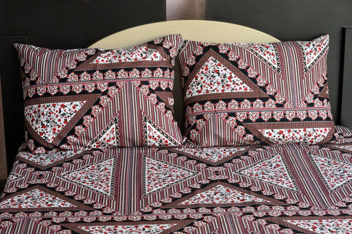 Kit colcha de casal piquet estampada Geométrico Floral - OMA Enxovais