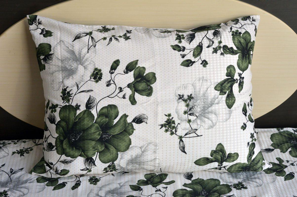 Kit colcha queen piquet estampada Flores Verdes Escuro - OMA Enxovais