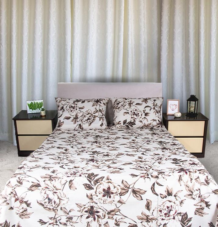 Kit colcha queen piquet estampada Flores brown  - OMA Enxovais
