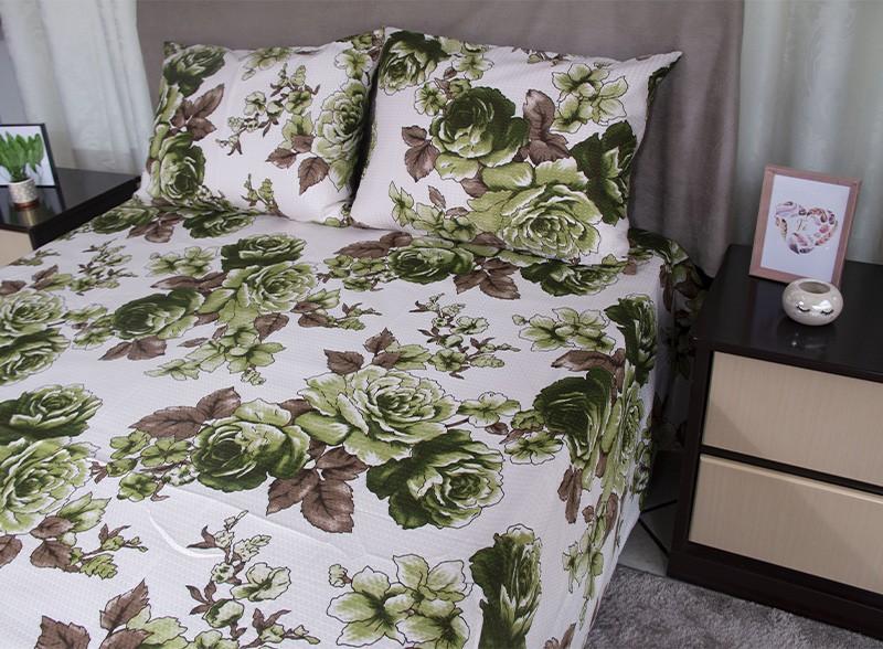 Kit colcha queen piquet estampada Flores Verdes - OMA Enxovais
