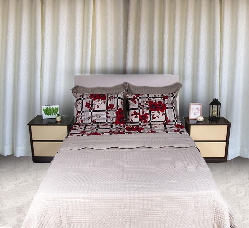 Kit colcha queen piquet estampada Florida Vermelha com Listras - OMA Enxovais