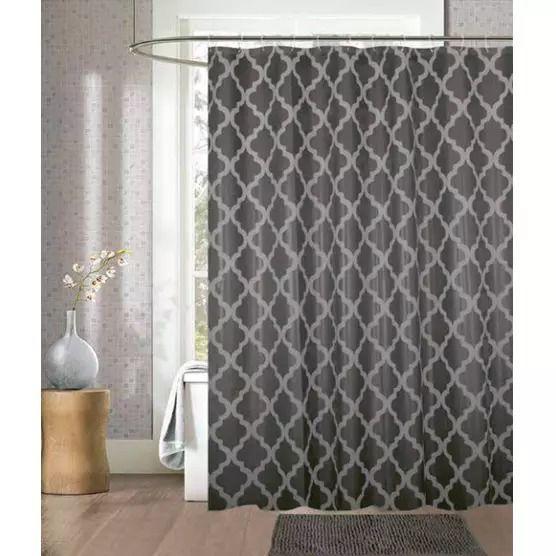 Kit cortina para box de banheiro + tapete Cinza - Camesa