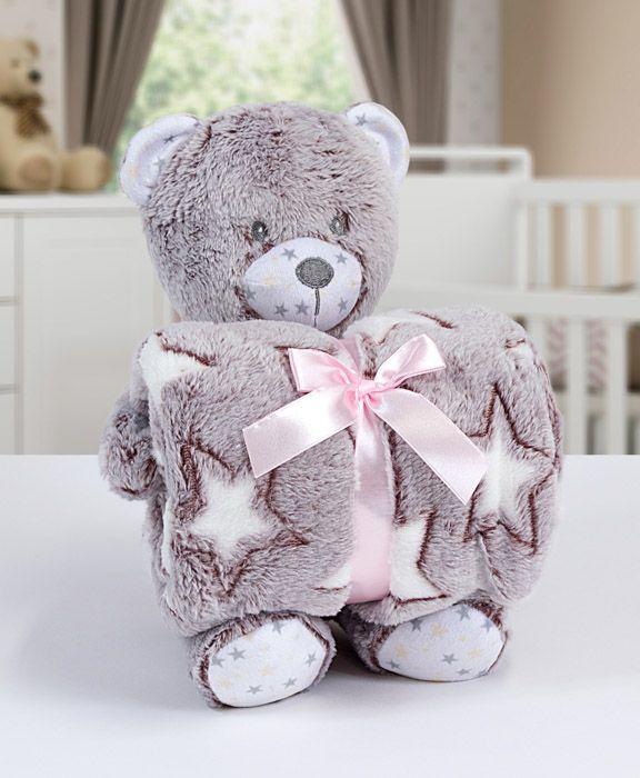 Kit manta com bichinho de pelúcia - Bear terracota - Bouton