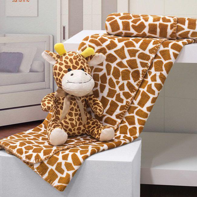 Kit manta com bichinho de pelúcia - girafa - Bouton