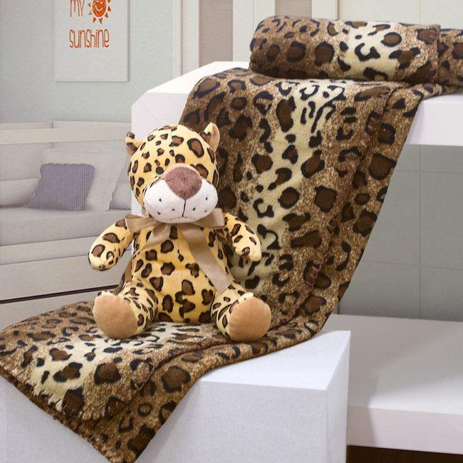 Kit manta com bichinho de pelúcia - leopardo - Bouton