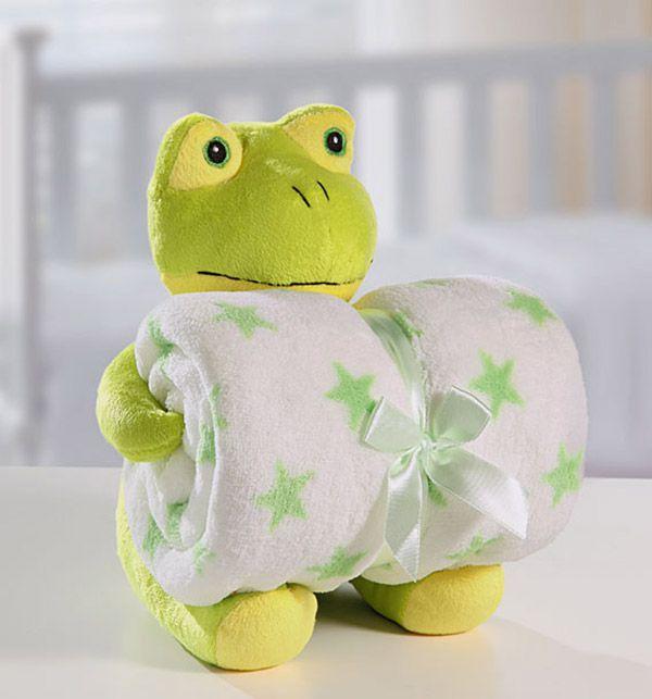 Kit manta com bichinho de pelúcia - sapinho - Bouton