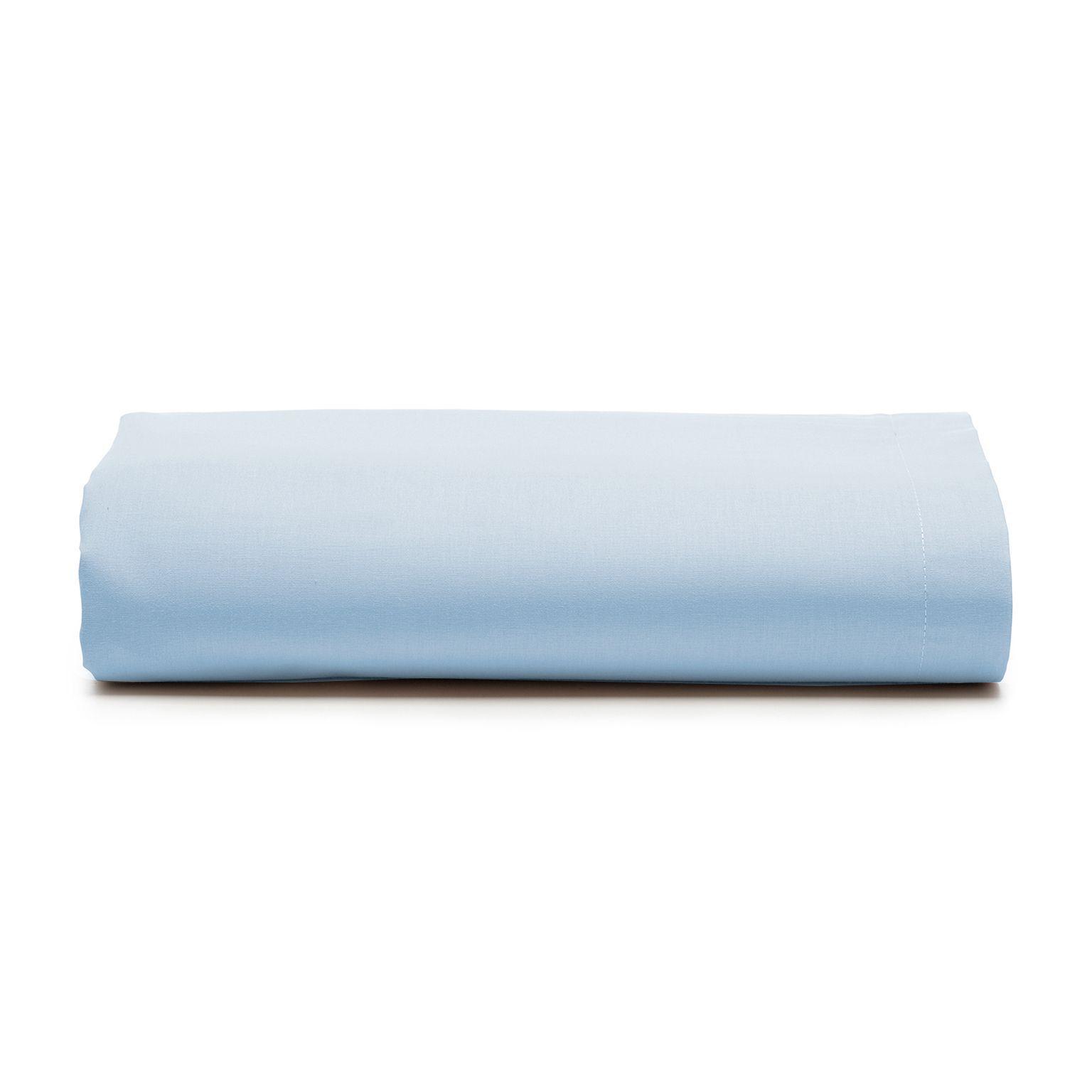Lençol com elástico casal Prata 150 fios 100% algodão Azul - Santista