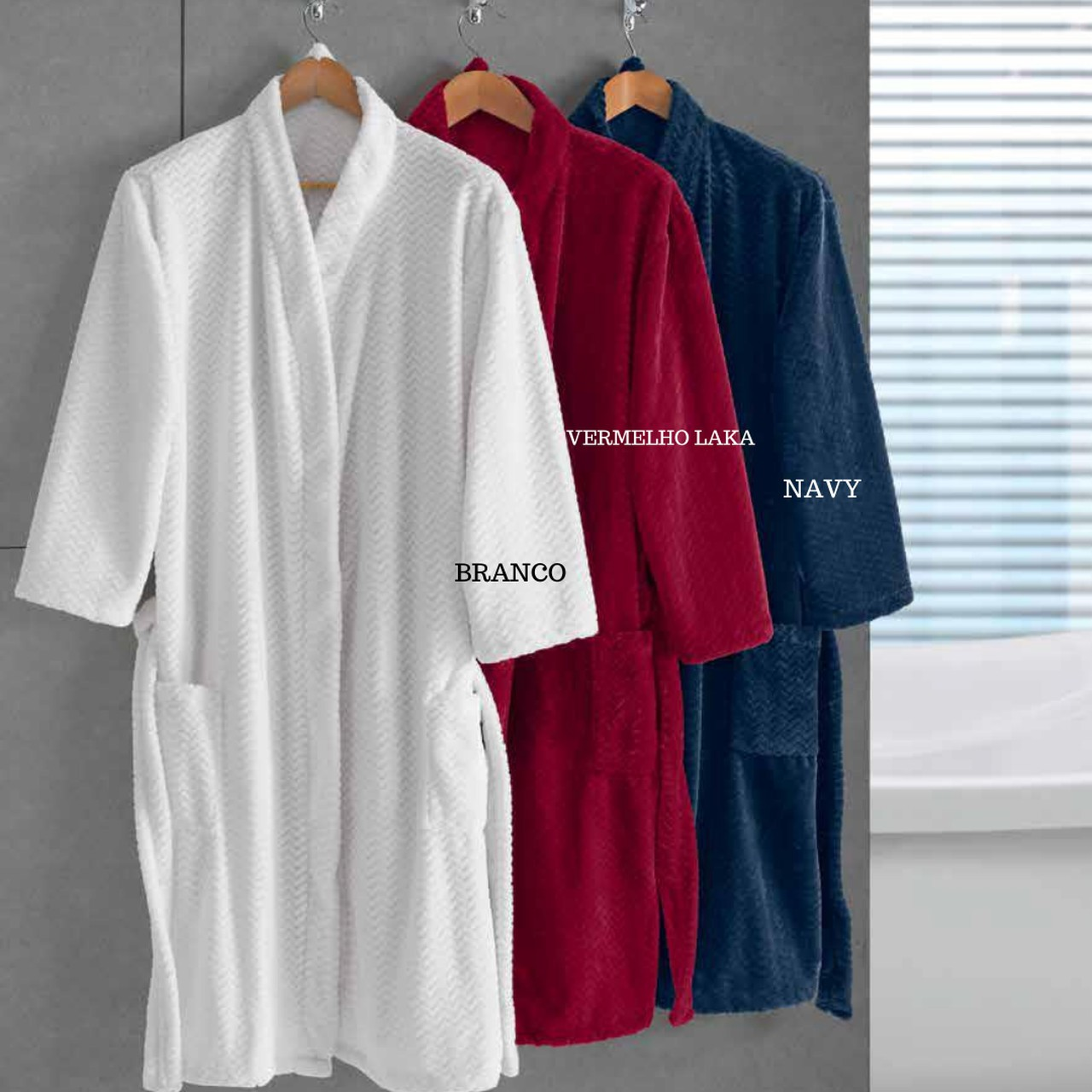 Roupão Plush Tweed Branco M - Hedrons