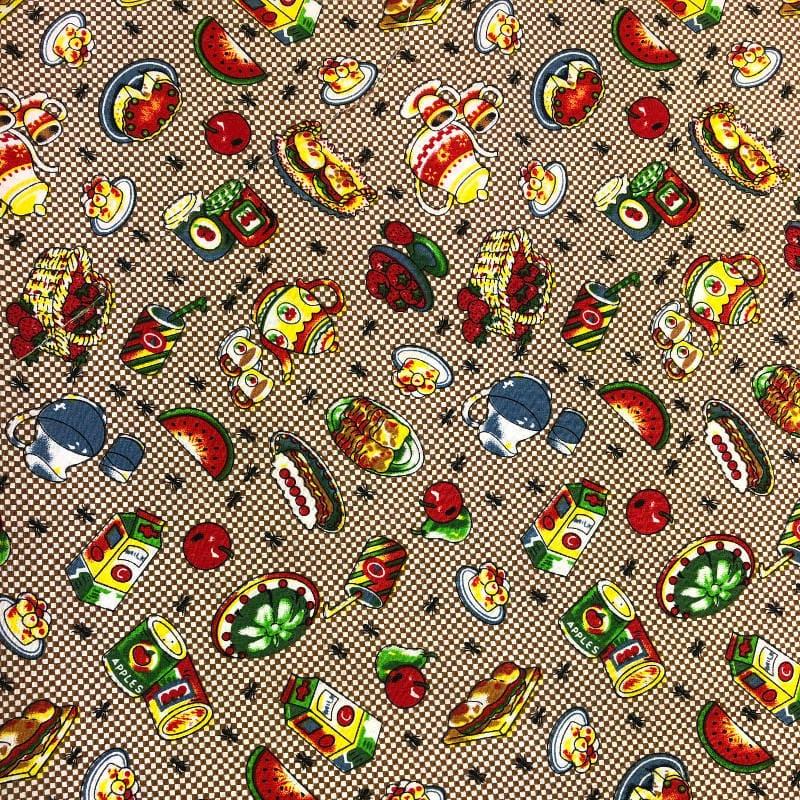 Tecido Tricoline com estampa de cozinha com frutas 100% Algodão 1,40 metros de largura