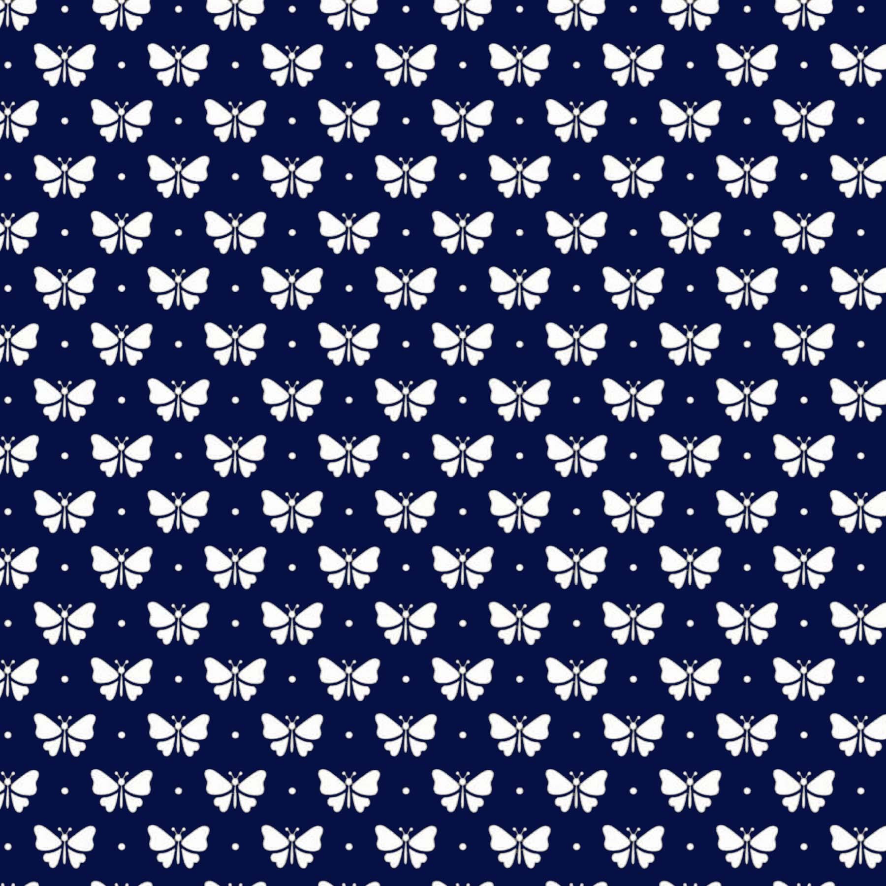 Tecido Tricoline estampado Borboleta Branca fundo azul marinho