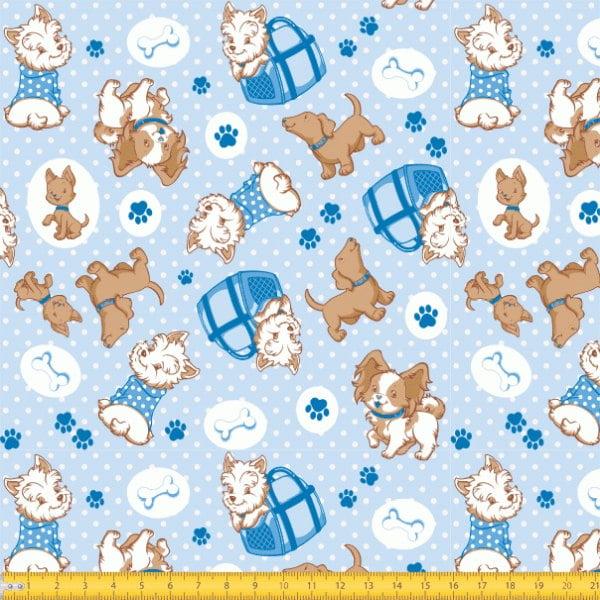 Tecido Tricoline estampado Cachorros fundo azul